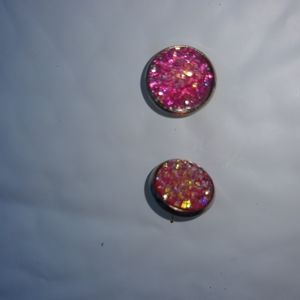 Sparkle Pink Earrings with flower shaped fasteners